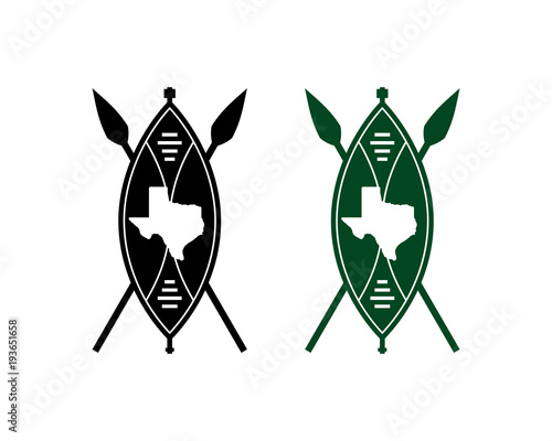 Cross Spear and Old Shield with Texas Map on the Shield Symbol Logo