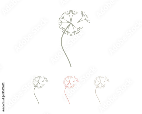 Line Art Dandelion Flowers Symbol Modern Logo Vector Buy This