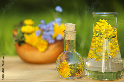 Herbal tincture tincture of medicinal herbs and flowers in a