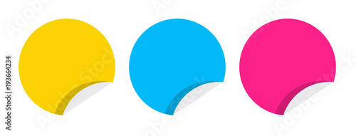 Fotografie, Obraz Stickers cyan, magenta, jaune