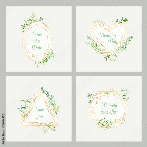 Wedding Invitation Floral Templates Set. Save the Date Frames with ...