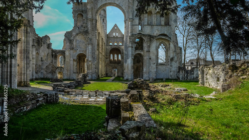 Tela Ruins of Monastery Abbaye de Jumièges / Jumièges Abbey in Normandy, France
