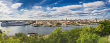 Panorama Of Havana With Cruise Ship Moored In Port