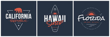 California Republic, Hawaii Surf And Florida Designs