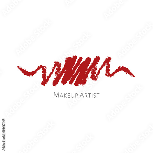 Beauty Makeup Artist Logo Template With Red Textured Lip Pencils Drawing Stroke Vector Cosmetics Sample