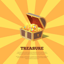 Treasure Poster With Chest Vec...