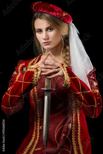 Dama ze sztyletem, portret, średniowiecze