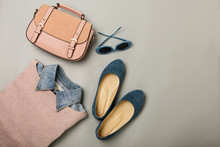 Flat Lay Of A Casual Woman Fas...