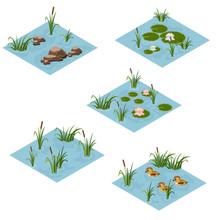 Lake Landscape Isometric Tile Set, Cartoon Or Game Asset