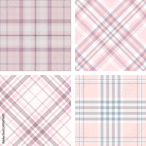 Photo  Set of four seamless tartan plaid patterns in shades of pink