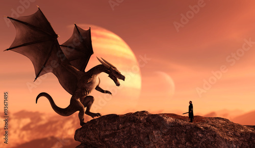 Obraz na plátně Knight and the dragon in magical landscape,3d art illustration for book illustra