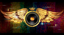 Winged Audio Speaker On Bright Colorful Background