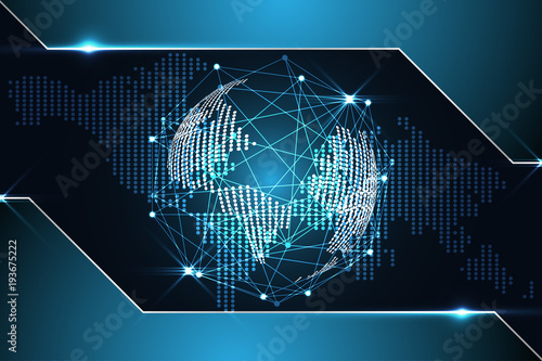 Abstract technology background concept digital world map dot abstract technology background concept digital world map dot metallic blue on hi tech future design gumiabroncs Images