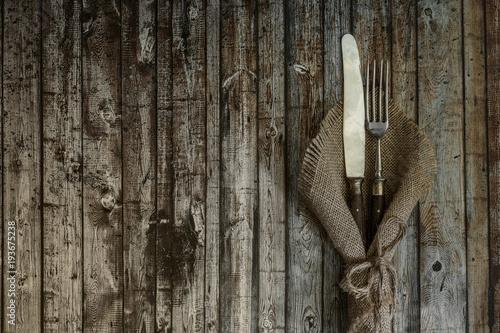 Fotografie, Obraz Altes Bestek auf Holzuntergrund