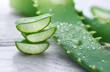 Aloe Vera Closeup. Sliced Aloe...