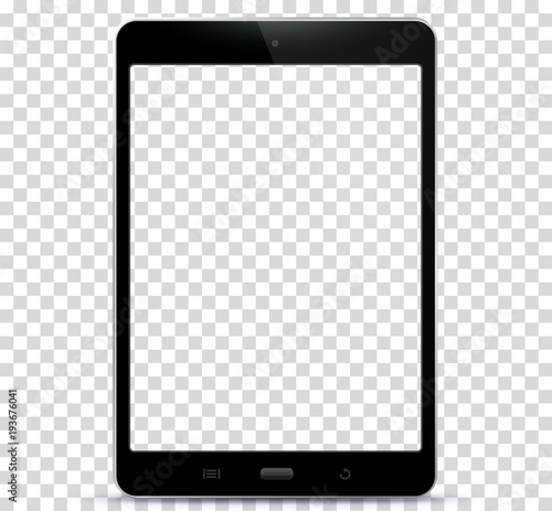 Fotografia  Transparent Black Tablet Computer Vector Illustration
