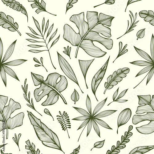 Poster Floral black and white Seamless pattern from Hand draw structure of tropic leaves black on white in line art for design flyer banner or for decoration package of tea or cosmetic or perfume or for design of botanical theme