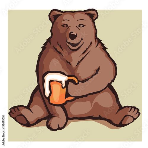 Papel de parede cartoon bear holding a beer