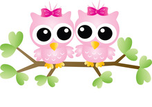 Two Adorable Pink Owls Sitting...