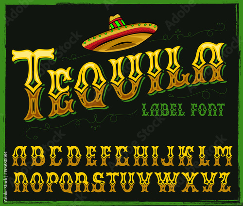 Hand crafted font in traditional Mexican style.