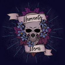 """Skull In Flower Bouquet With Ribbon On Grunge Background And """"Memento Mori"""" Quote. Tattoo Design."""