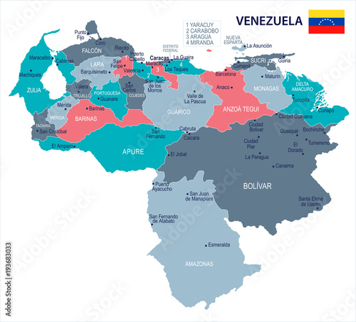 Obraz na plátne Venezuela - map and flag - Detailed Vector Illustration