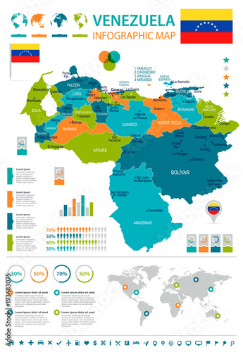 Venezuela - infographic map and flag - Detailed Vector Illustration Fotobehang
