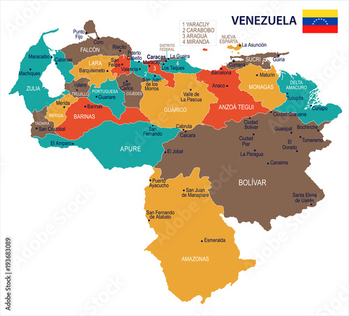 Fotografia, Obraz Venezuela - map and flag Detailed Vector Illustration