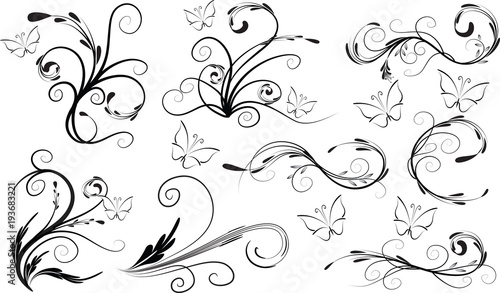 Poster Butterflies in Grunge vector line background
