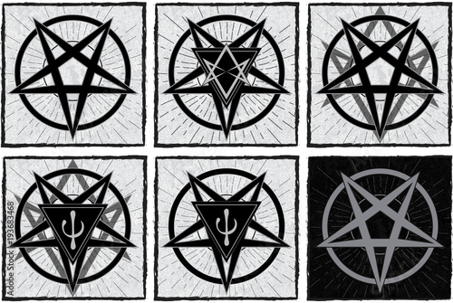 Set of stylish pentagrams with thelema sigil and psi element on grunge background and star rays Poster
