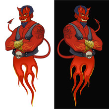 Devil Mascot Illustration. Sty...
