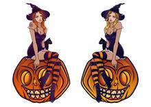 Witch On Pumpkin Mascot Vector...