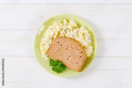 meat loaf with potato salad Canvas Print