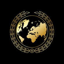 A Golden Globe With  Wheaten Wreath. Gold Earth On A Black Background. Vector Illustration.