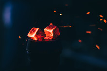 Hot Red Coals With Hookah Spar...