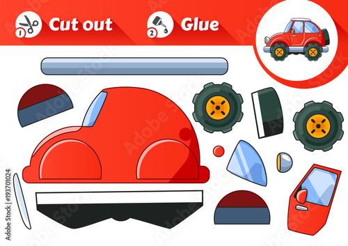 Red Car Game >> Cut Glue An Educational Game For Kids Vintage Red Car Buy