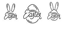 Easter. Set Of Label Badge Emblems For Easter. Easter Lettering And Linear Graphics