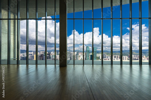 Fotografie, Tablou empty window with panoramic cityscape