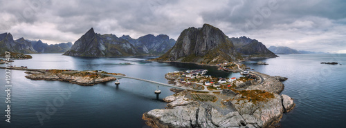 Fotografia  Aerial view of fishing villages in Norway