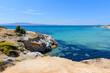 Crystal clear sea water at Aliko beach on Naxos island. Cyclades, Greece
