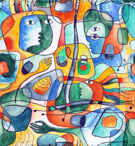 kubistyczny-bezszwowy-wzor-z-liniami-i-twarzami-namalowanymi-w-akwareli
