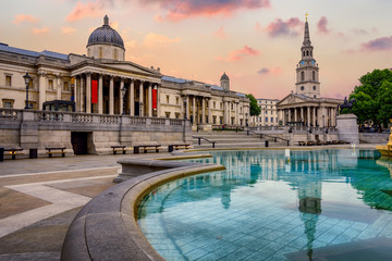 Trafalgar square, London, England, on sunrise