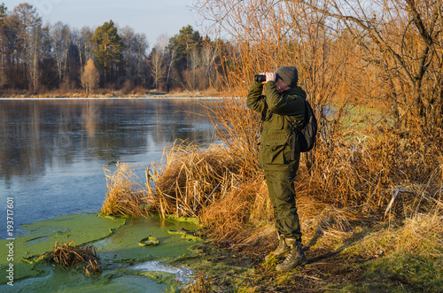 Spoed Foto op Canvas Jacht Duck hunting in late autumn