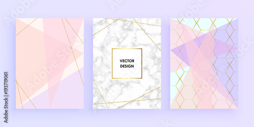 Set Abstract Geometric Designs Posters In Gold Glitter Cream
