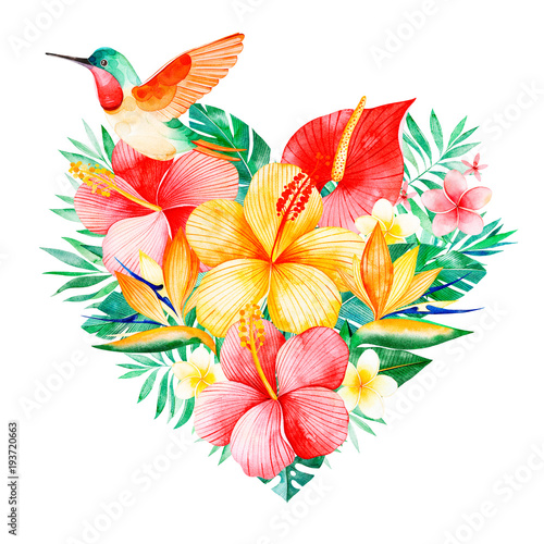 Watercolor tropical bouquet heart with greensbranchexotic flowers watercolor tropical bouquet heart with greensbranchexotic flowershummingbirdtropical leaves m4hsunfo