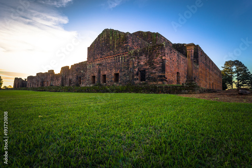 Foto op Aluminium Oude gebouw Mission of Jesus de Tavarangue - June 26, 2017: Ancient Jesuit ruins of the Mission of Jesus de Tavarangue, Paraguay