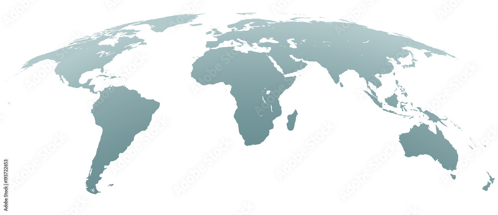 Fototapety, obrazy: Spherical Curved Gray World Map