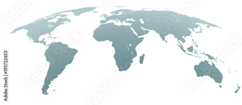 Fotografie, Obraz  Spherical Curved Gray World Map