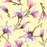 Pink magnolia flowers on a twig on light yellow  background. Seamless pattern. Watercolor painting.
