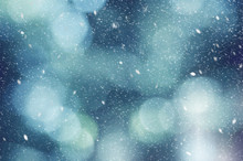 Blue Winter Outdoor Abstract Blurred Light Bokeh Nature Background Texture With White Falling Snow, Horizontal